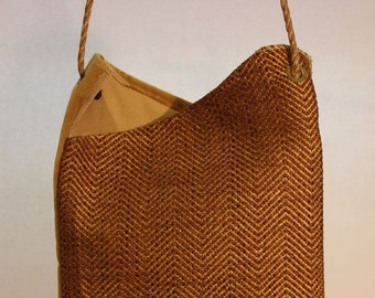 Large Fabric Bag in Gold ZigZag Weave Item #B71