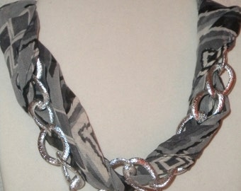 Scarf and silver chain