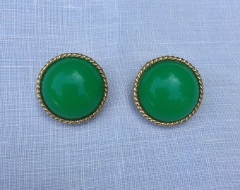 Vintage Green Cabochon Earrings with Gold Trim