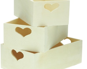 "Set three wooden boxes ""Heart"" sheets/creative hobbies, 3 different sizes"