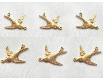 6 Small Swallow Charms - 2 Ring Left and Right Facing