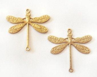 2 Small Fancy Raw Brass Dragonfly Pendants 2 Ring