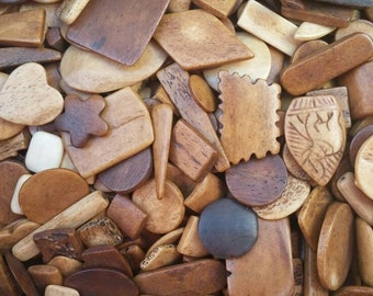 Half Pound of Buffalo Bone Cabochons, Assorted Shapes Sizes and Colors