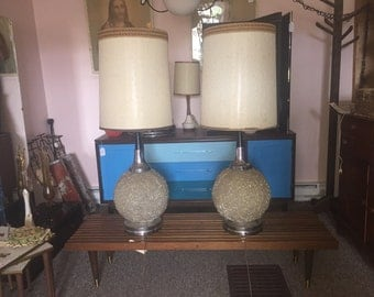 Mid century spaghetti spun lucite table lamps