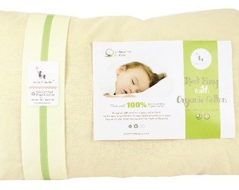 100% Organic Cotton Toddler Pillow 13x18 - WITH PILLOWCASE