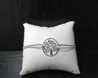 Tree of life silver bracelet and cord grey waxed polyester