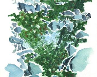 Aquarelle WATER ROCKS SERIES nº 08 (Original paint)