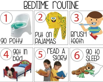 Bedtime Routine Landscape print out - bedtime routine - steps to bedtime - visual guide to bedtime