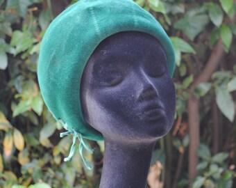Green velvet hat 1960s