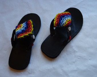 Njango Beaded Leather Flip Flops for children