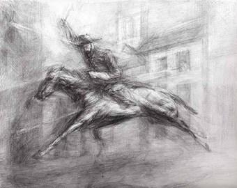 Original Drawing Ulysses Grant Riding