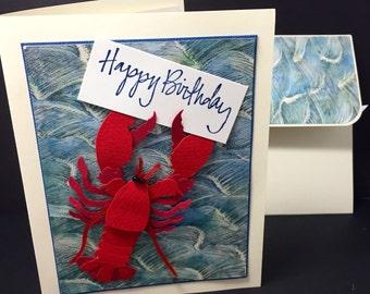 Ocean Birthday Card - Beach - Lobster - Waves - Happy Birthday - Handmade