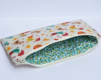 Chicken Lined Zipper Pouch Cosmetic Bag Pencil Pouch