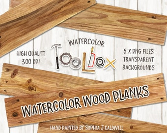 Watercolor Wood Clipart, Digital Elements, Wood Digital Paper, Clip Art Banner, Woodworking Tools, Rustic, Scrapbooking Supplies, Planks