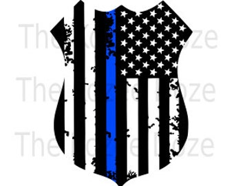 Police Officer LEO Badge w/ Distressed Flag & Thin Blue Line SVG DXF