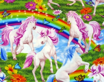 Fabric One Yard Unicorns Butterflies and Rainbows Cotton Timeless Treasures