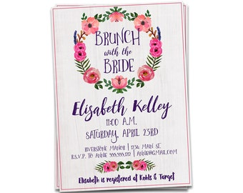 Brunch with the Bride Invitation, Bridal Shower Invitation, Printable Bridal Shower Invitation, Bridal Brunch Invitation, Brunch Invitation