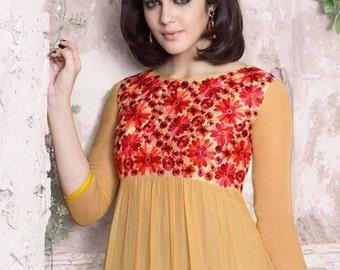 Designer kurta with fancy floral neck work