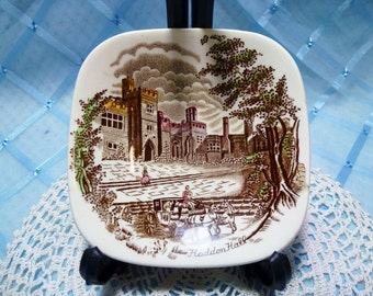"Vintage ""Johnson Brothers"" Small Butter Dish ""Haddon Hall"""