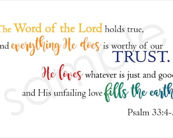 Scripture Art Psalm 33:4-5