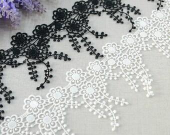 "14 yard 9cm 3.54"" wide black/ivory  embroidery lace trim trims ribbon L22K209 free ship"