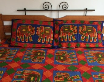 hand embroidered bed spread,Indian handcrafted cotton bed sheet,Indian Beach spread, embroidery tapestry bedspread Vibrant cotton bedspread,