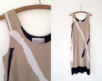 Vintage 80s Abstract Minimal Print Neutral Woven Maxi Dress