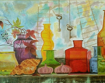 Painting Holiday bottles. Available.