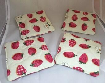 Strawberry Fabric Coasters