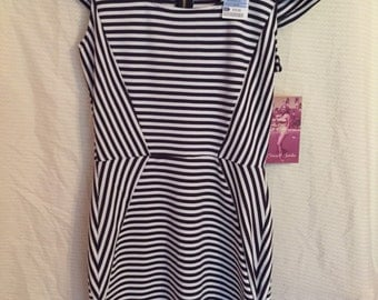 Fitted Navy Blue and White Striped Dress, Size Medium