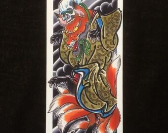 Kitsune, fox, japanese print, giclee on 310gsm etching paper