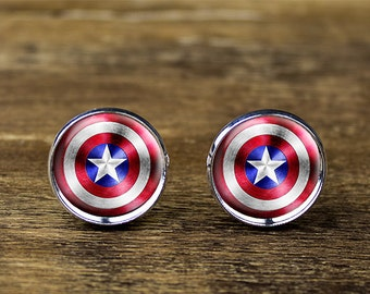 Captain America cufflinks, Captain America jewelry, Captain America accessories