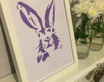 Hare Stencil Art Picture Frame Purple