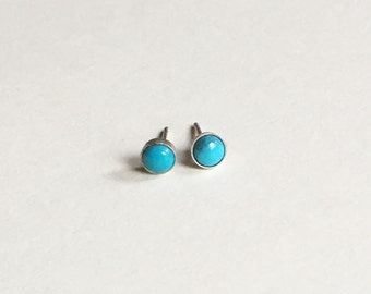 Tiny Turquoise Earring Studs Sterling Silver