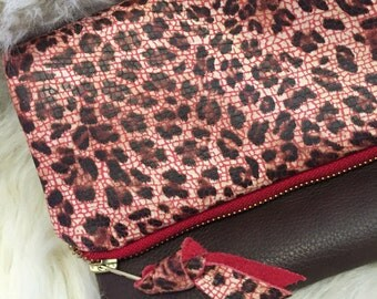 Leopard leather foldover clutch