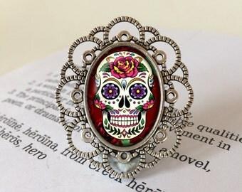 Day of the Dead Brooch - Sugar Skull Brooch, Dia de Muertos Brooch, Calavera Brooch, All Souls Day, Halloween Brooch, Day of the Dead Gift