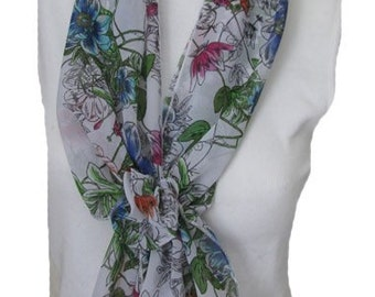 Floral Scarf with Velcro Closure