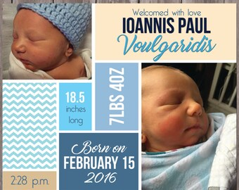 Baby Boy Birth Announcement - Item #022