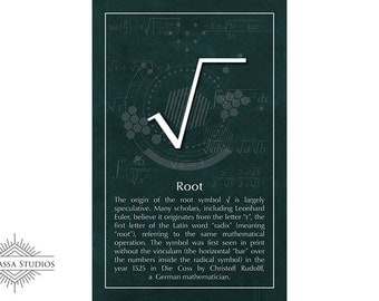 Math Poster, Root, Square Root, Equality, Printable Poster, Maths, Education