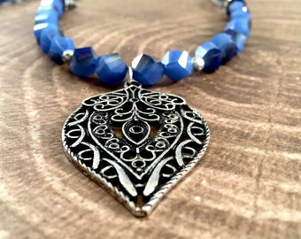 Set Indigo Necklace and Bracelet