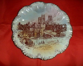 Vintage Shaped Plate of Bootham Bar & York Minster Cathedral