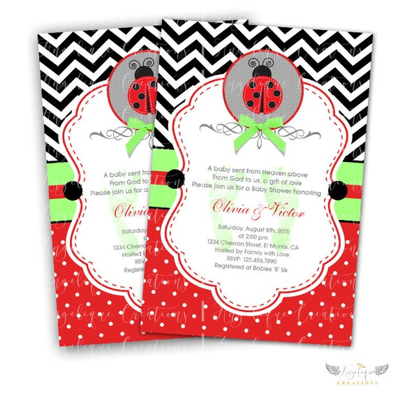 Lady Bug Invitations & Blank Thank You Card to match