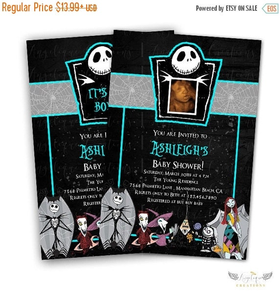 ON SALE Blue Nightmare Before Xmas Invitations & Blank Thank You Card to match