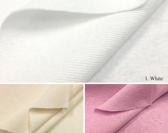 100% Cotton 1x1 Rib Knit Fabric (Wholesale Price Available By the Bolt) USA Made Premium Quality - 4001B - 1 Yard