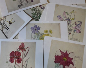 Vintage Calendar Pages for Art Projects - painted and illustrated flowers from four calendars