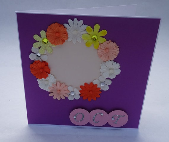 Greeting Cards - Handmade October Monthly Card with Flowers