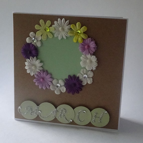 Greeting Cards - Handmade March Monthly Kraft Card with Flowers