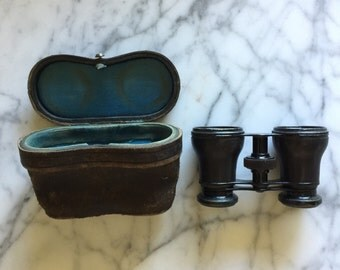 Audemair Paris Opera Glasses, Leather case, Field glasses, Binoculars