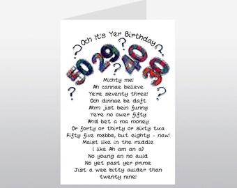 Scottish Birthday Card Humorous Age WWBI53