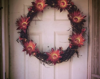 Metal flower wreaths with copper vines and leaves, Fall Wreath, Door Hanger